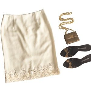 Valentino ✦ Rose Appliqué Pencil Skirt ✦ Cream